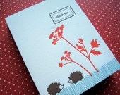 Letterpress Thank You - hedgehogs (set of 6)