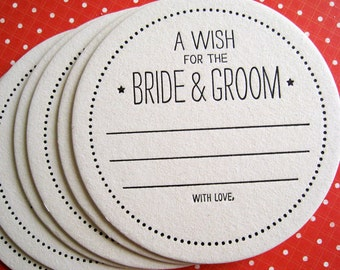 Letterpress Coaster - a wish for the bride & groom (set of 50)