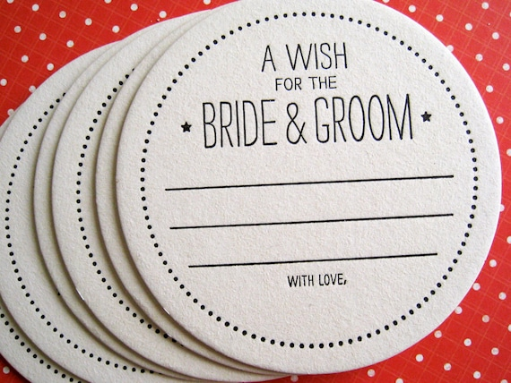 Letterpress Coaster - a wish for the bride & groom (set of 20)