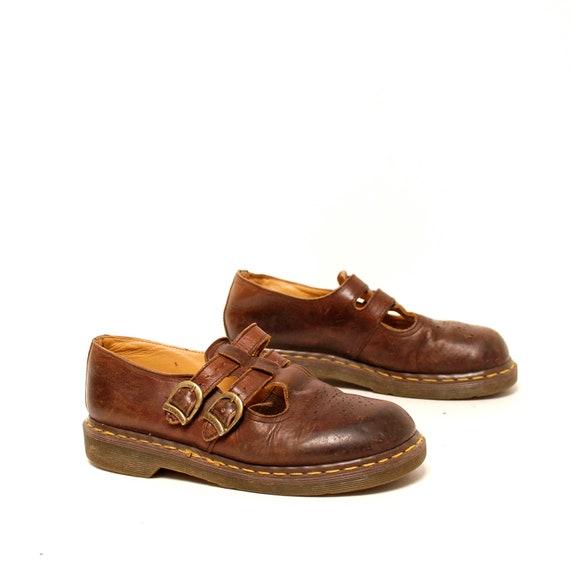 size 8.5 DOC MARTEN brown leather BUCKLE strap platform boots