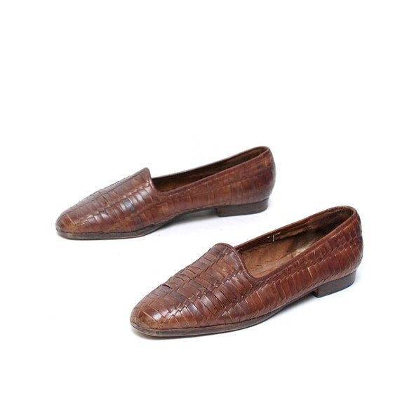 size 10 11 SOUTHWEST woven brown leather 80s OXFORD slip on loafers