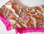 MISS ALPHABET spandex pink orange leopard hologram hot pants booty shorts size medium