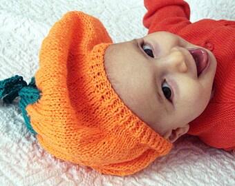 50% OFF SALE - Pumpkin baby hat knitting pattern