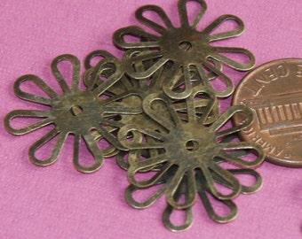 50 pcs of Antique brass stamp  flower links 20mm
