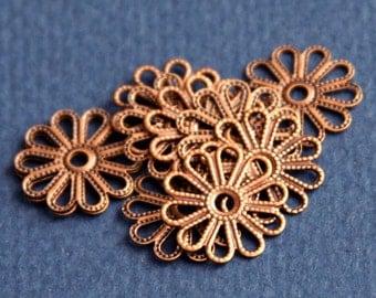 20 pcs of Antique Copper  filigree flower links 16mm