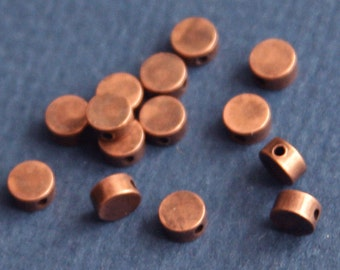 25 pcs of antique copper flat round beads 5x2.5mm