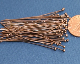 50 pcs of  Antique Copper Ball end head pin  22 gauge with 2mm ball  - 2 inch long