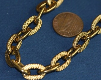 5 ft of Extra Large Aluminum corrugated oval chain  10x14mm - Antiqued old Gold