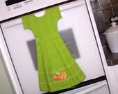 Dish Towel Oven Door Dress in Lime Green with Oranges