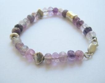 Purple fluorite bracelet with designer silver beads