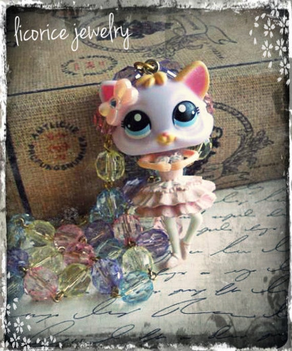 Reserved Weird Kitty Cat Ballerina Doll Necklace shabby chic antique victorian couture kitten creepy golden beaded purple pink dancer retr