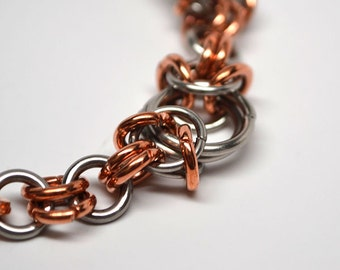 Copper & steel modified byzantine chainmaille bracelet