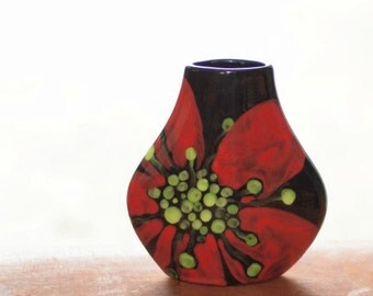 Small Vase Flower Vase Ceramic Vase Red Poppy Tear Drop Vase Pottery Valentine Gift for Coworker Hostess Gift Mothers Day Gift RP