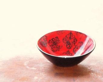 Boho Bowl READY to SHIP Red Poppy Medallion Small Off Center Bowl Vibrant Red Poppy Pottery Serving Bowl Trinket Bowl Teacher Gift