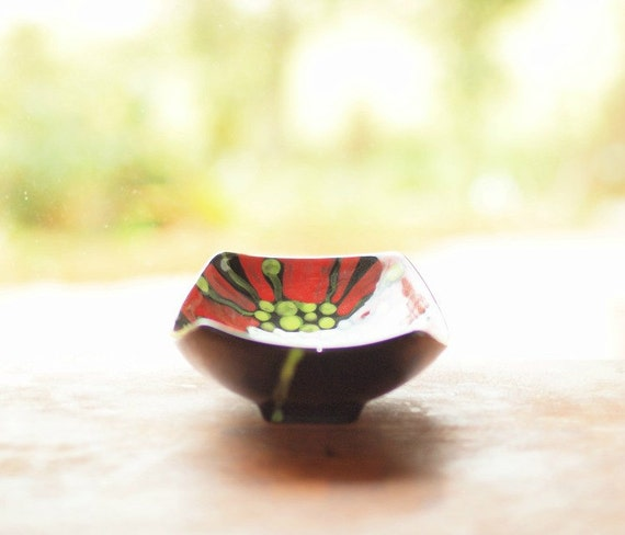 """Serving Dish - Red Poppy  Small Scooped Serving Dish 9x5.5x2"""" - Colorful Ceramic Pottery Serving Southwest Minimalist Home Decoration Gifts"""