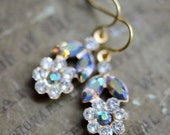 Flower Earrings - Swarovski Crystal - Pure Brass - Les Petites Fleurs - Starlight
