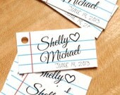 Notebook Paper Wedding Favor Tags - School Style Mini Gift Tags - Wedding Gift Tags - Thank you tags - Hang tags - Set of 50