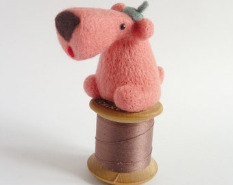 Needle felted Doglet as seen in Mollie Makes - MADE TO ORDER pink (or other colour)