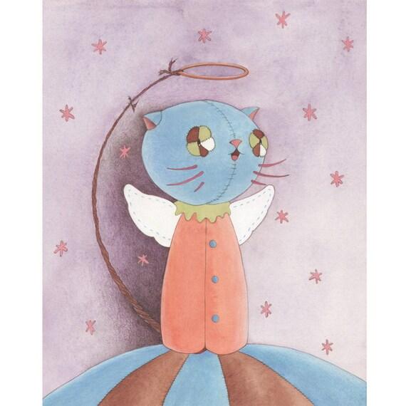 Angel Cat original art by Gretel Parker