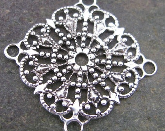 6 Antique Silver Brass Filigree Jewelry Findings 311