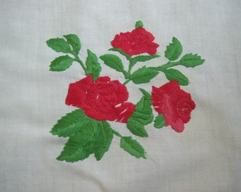 TEA Cloth - Vintage Ribbon Embroidery - Red roses - Hand Crocheted Edges