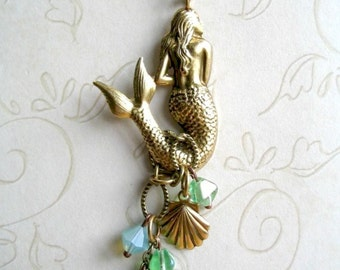 Mermaid necklace, long brass chain, sea shell charm, mermaid jewelry, pendant