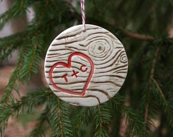 Ornament with Woodgrain Heart and Initials
