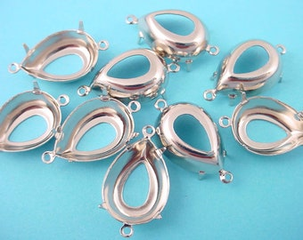 12 Silver tone Pear Prong Setting Connectors 18x13 open back