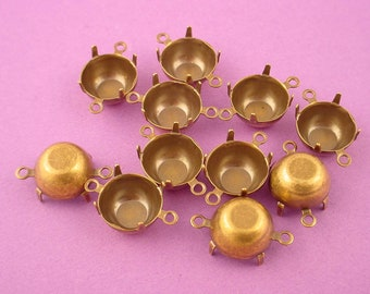 16 Brass Ox Round Prong Settings 48SS 11mm 2 Ring connectors closed back