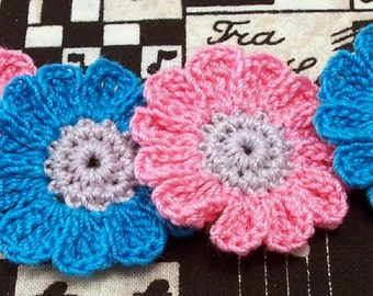 Crochet Pink and Blue Flower Appliques