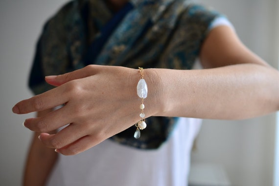 RESERVED for Maria. Moonstone Pearl & Moss Aquamarine Gold Bracelet