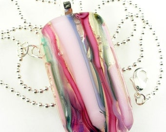 Pink Blue Colorful Abstract Glass Pendant Necklace Fused Focal Bead
