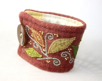 Hand Embroidery Embroidered Cuff Bracelet Jewelry Wool Falling leaves cuff in rust green