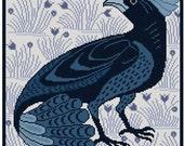 Fan-Tail Bird antique tile adaptation Cross stitch pattern PDF