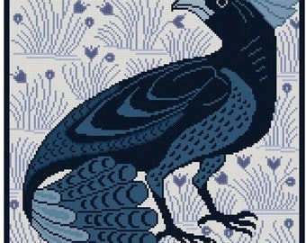 Fan-Tail Bird antique tile adaptation Cross stitch pattern PDF