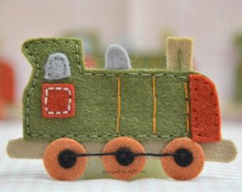 Set of 4pcs handmade felt train--dark moss (FT731)