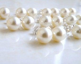 Swarovski Earrings Ivory Pearl Sterling Stud Set of 6