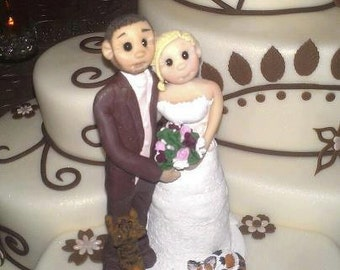 Custom Bride Groom with Cats  Wedding Cake Topper, Custom wedding cake topper, personalized cake topper, Mr and Mrs cake topper
