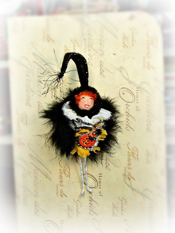 vintage inspired Halloween Pixie doll ornament decoration ooak art doll retro Halloween ornament