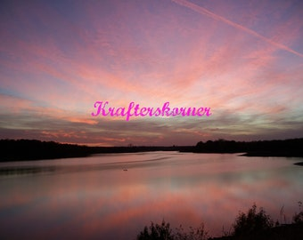 Photo Print Beautiful Sunset Over Lake Pink Sky Clouds 4 x 6, 5 x 7, or 8 x 10