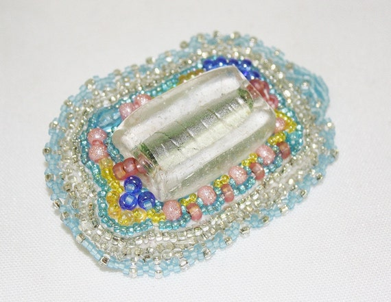 Spring Thaw - Bead Embroidered Convertable Brooch