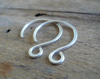 1 Pair of my HEAVY 18 gauge Large Solitude Sterling Silver Earwires - Handmade. Handforged
