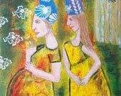 Original painting, Pregnant Women with Hats, abstract expressionism, acrylic on canvas modern painting drawing illustration Mixed Media