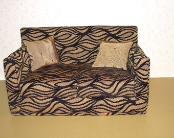 18 Inch Doll Sofa, Black Velvet Lines , Gold,  Modern Handmade Furniture