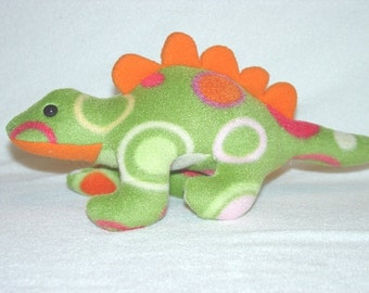 Plush Stegosaurus  Dinosaur, Green, Orange, Pink, Red  Dots