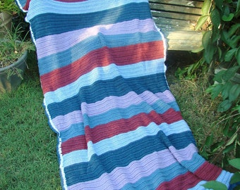 Vintage Colorful Hand Crochet Striped Afghan or Throw