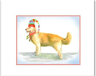 Golden Retriever Christmas cards. 10 per boxed set. dog cards. retriever. golden. animal cards.holiday retriever cards