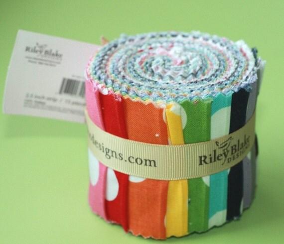 15 strips Cotton MEDIUM Dots Rolie Polie Roll by Riley Blake