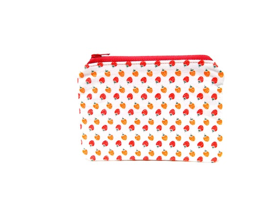ON SALE -- Mini Zipper Pouch / Small Zippered Pouch in Tiny Strawberries on White