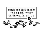 Custom Address Stamp - Self Inking or Wood Handle Mount - Mitch and Tara Design